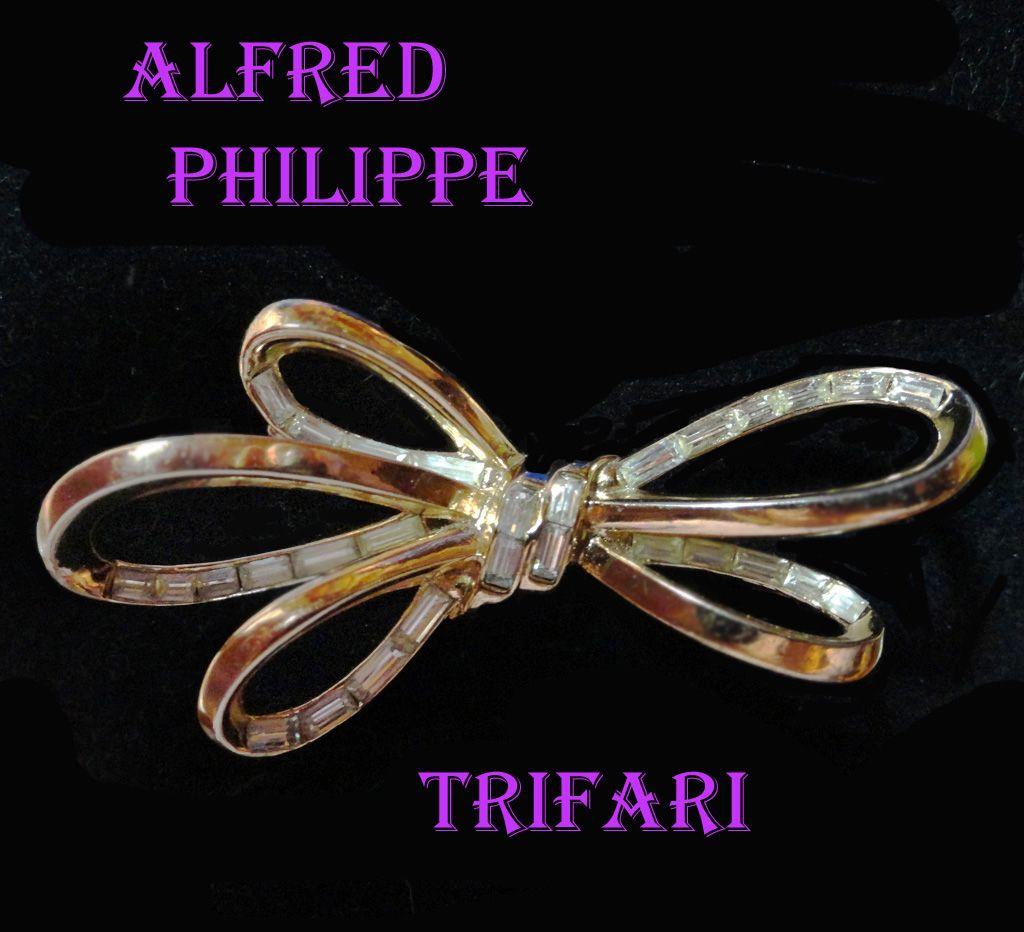 Trifari Alfred Philippe Baguette Rhinestone Ribbon Brooch