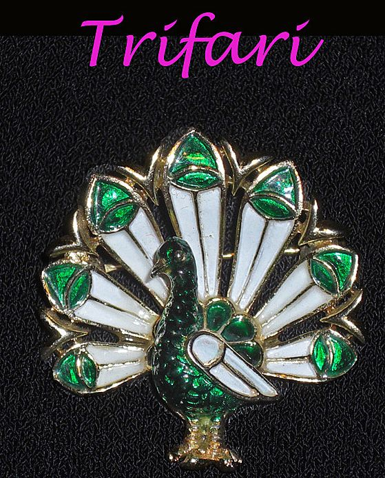 Vintage Trifari Crown Enamel Mini Peacock Brooch