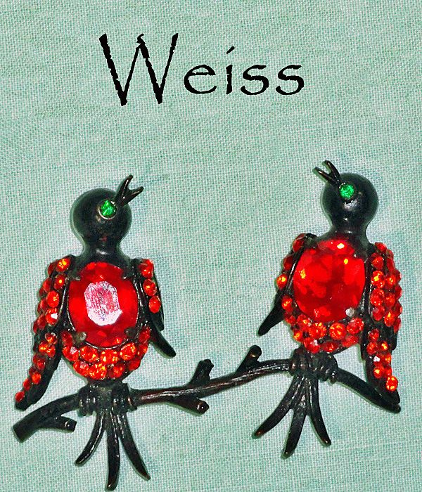 Weiss Two Birds on Branch Rhinestone Japanned Brooch