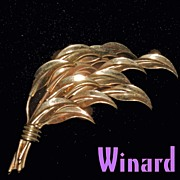 Winard Sculpted Leaves Brooch Gold Filled