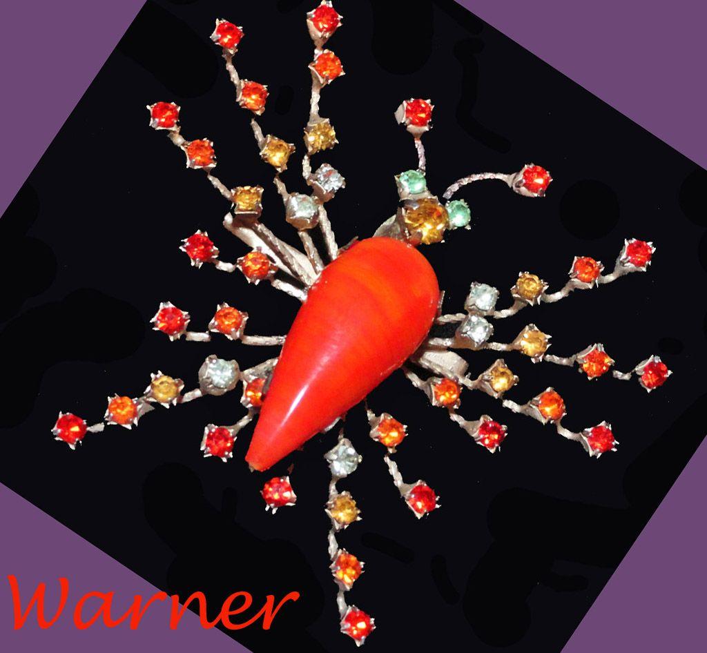 Warner Orange Art Glass Rhinestone Butterfly Brooch