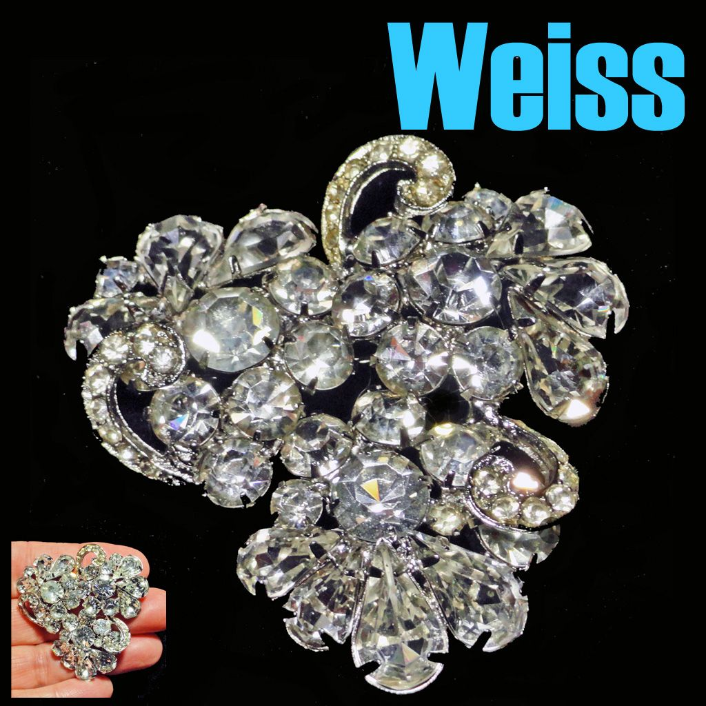 Weiss Crystal Clear Rhinestone Brooch Teardrop Chaton Three Section