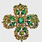 Weiss Green Maltese  Cross Rhinestone Brooch