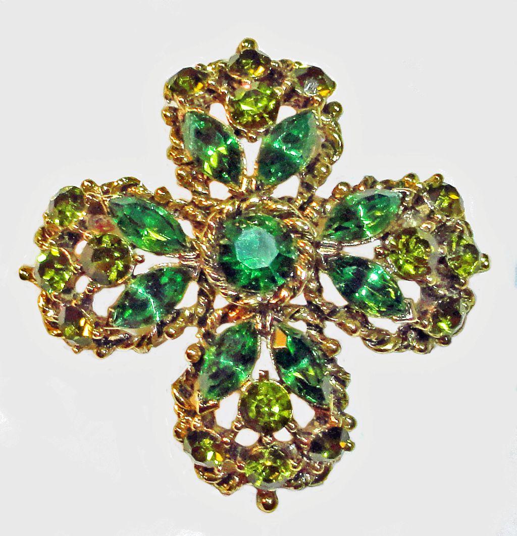 Weiss Green Maltese  Cross Rhinestone Brooch