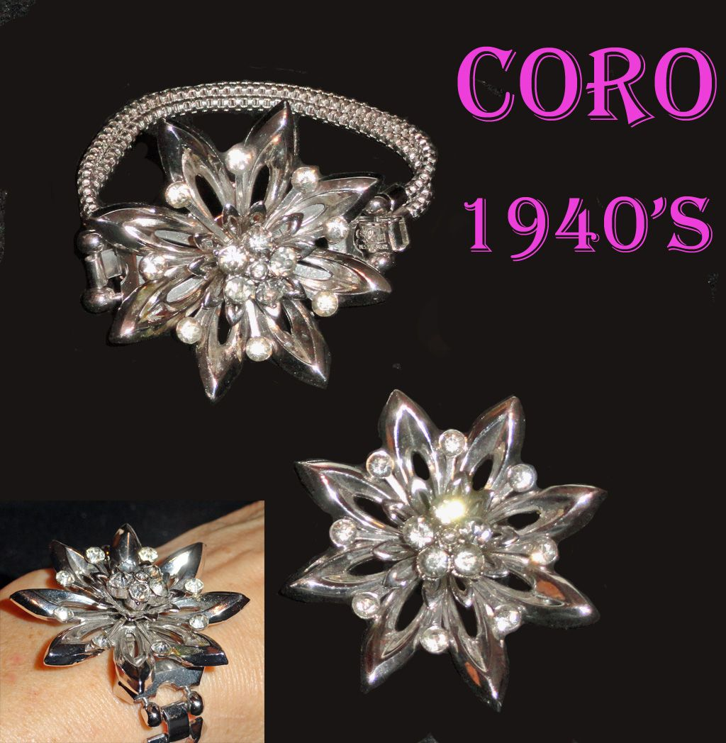 Coro Rhinestone Flower Bracelet and Brooch Demi 1940's Multi Tiered Dimensional