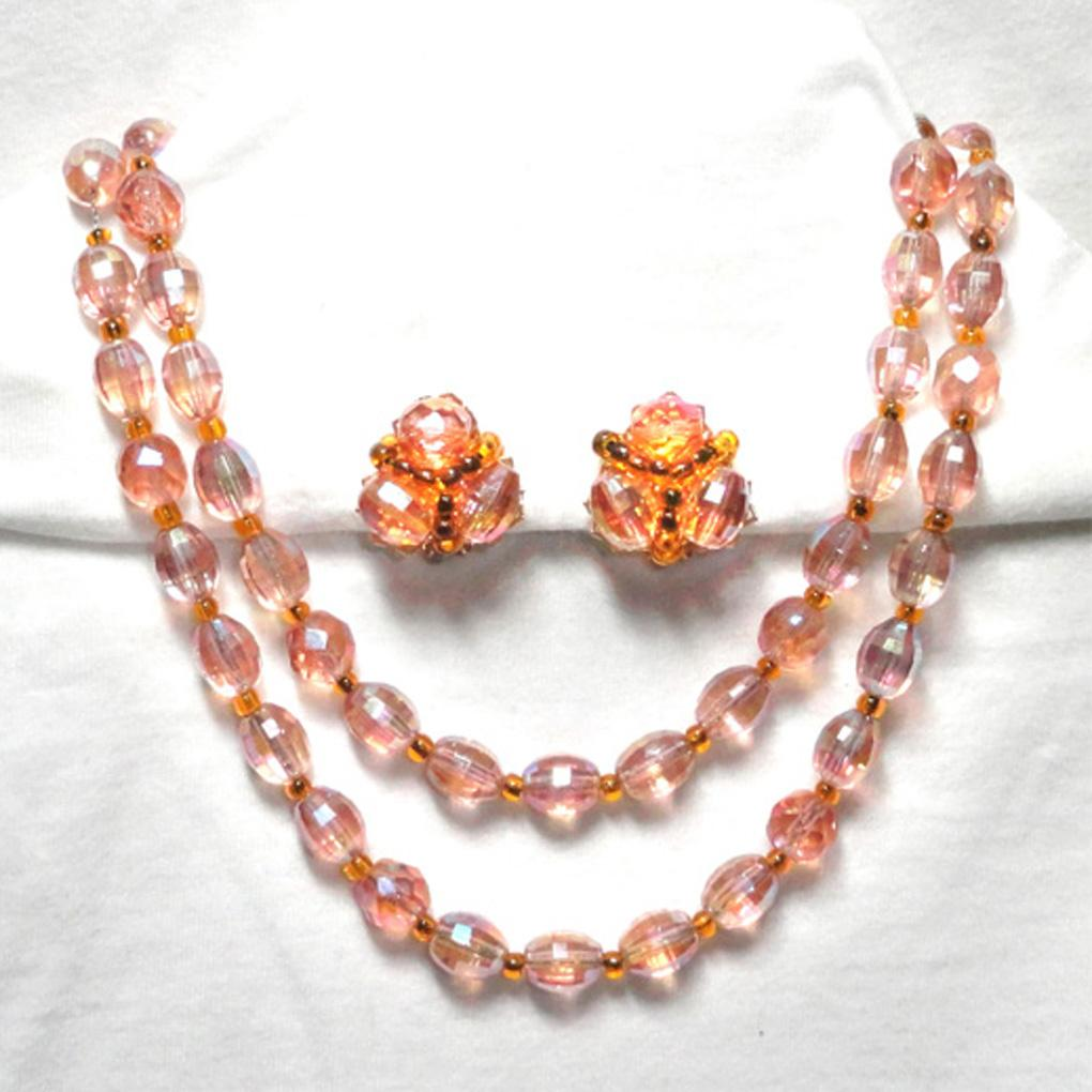 Hobe Pink Champagne Aurora Borealis Faceted Crystal Necklace and Clip On Earrings  WOW!!!
