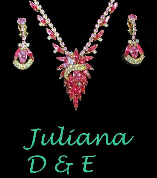 Juliana D & E  PInk Fuchsia Rhinestone Necklace Earrings Demi  Book Piece