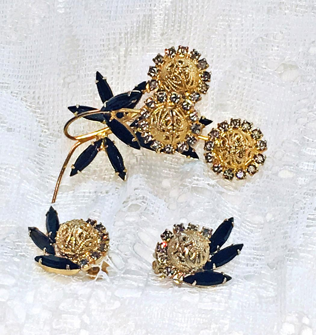 Juliana Black Navette Rhinestone Flower  Brooch Earrings  Demi Parure