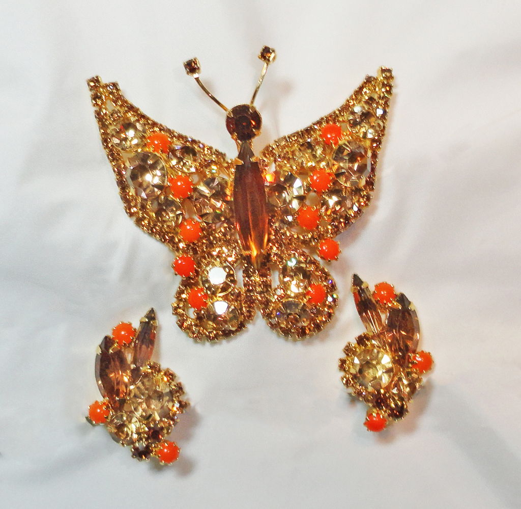 Juliana Rhinestone Butterfly Brooch Earrings Set Demi Parure