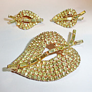 Jonquil Rhinestone Leaf Brooch and Earrings Demi Parure High End