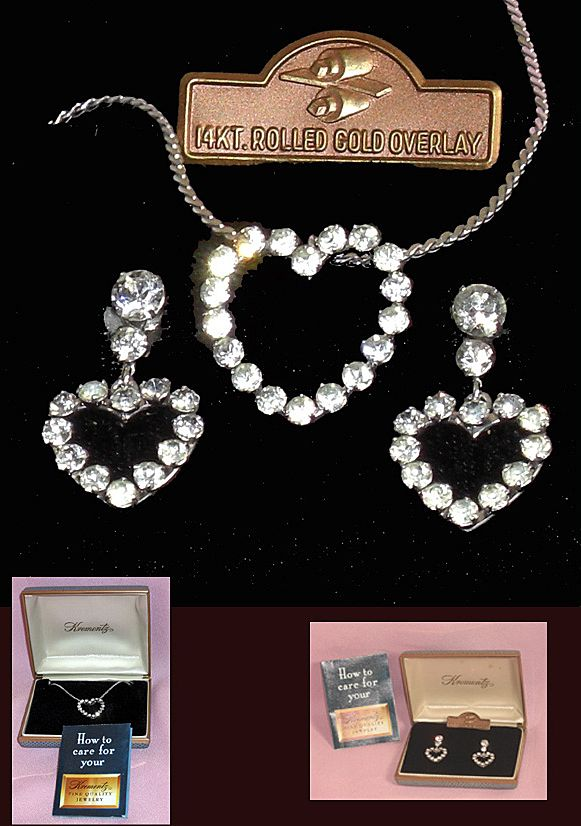 Krementz Rhinestone Heart Necklace & Earrings Set 14K Rolled Gold Overlay Orig Box