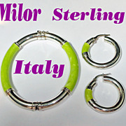 Milor Sterling Silver Light Green Kiwi Enamel Bracelet Pierced Hoop Earrings Demi