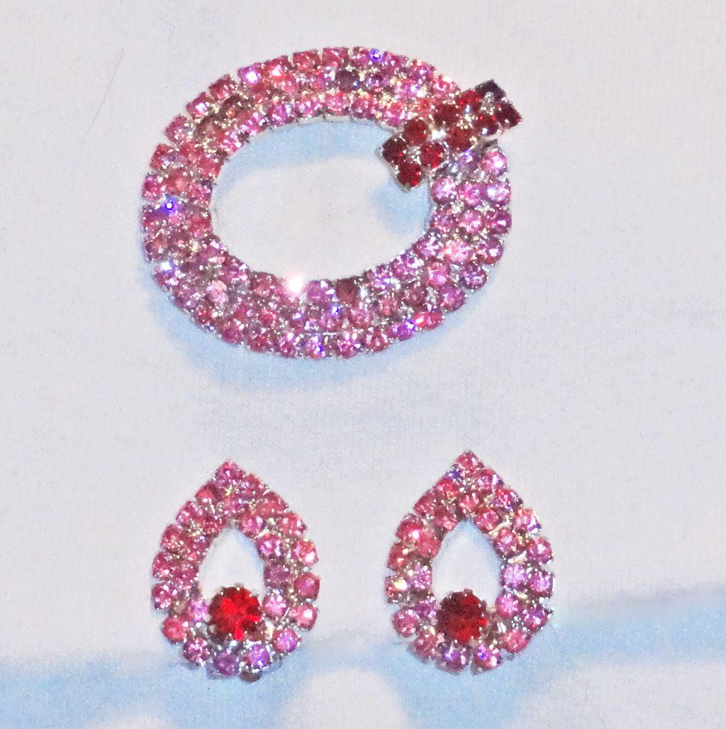 Pink and Red Rhinestone Brooch Clip On Earrings Set Demi Parure