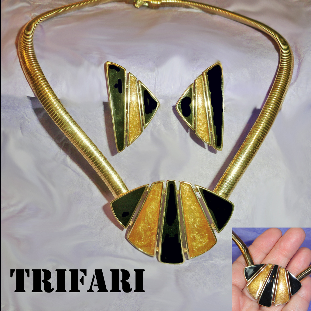 Trifari Black Gold Enamel Necklace and Clip on Earrings Demi
