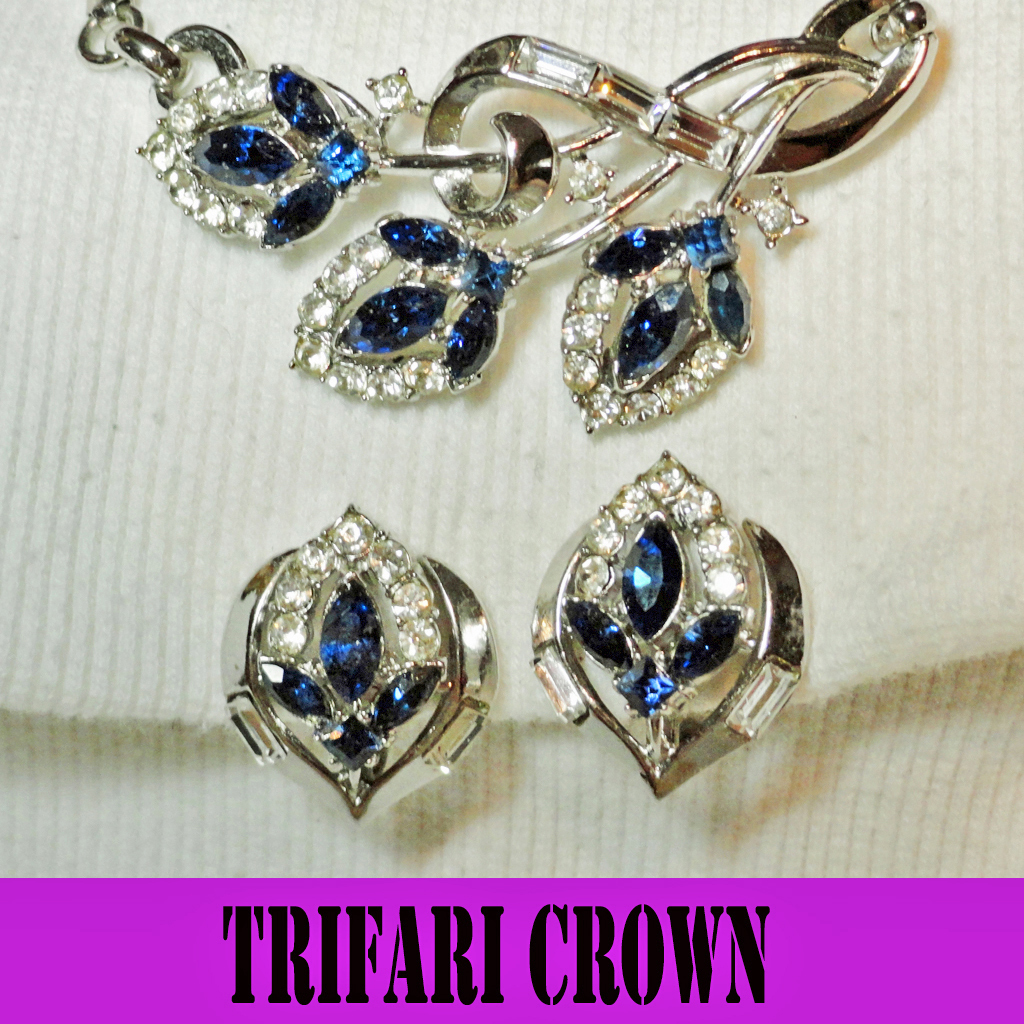 Trifari Crown Sapphire Blue Clear Rhinestones Necklace by Alfred Philippe