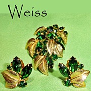 Weiss Green Rhinestone Leaves Brooch Earrings Demi Parure