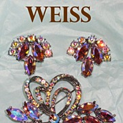 Weiss Aurora Borealis Rhinestone Ribbon Brooch and Earrings Demi Parure