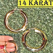14 Karat Yellow Gold Beveled Hoop Pierced Earrings Massive