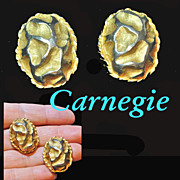 Carnegie Gold Plated Nugget Clip On Earrings Signed