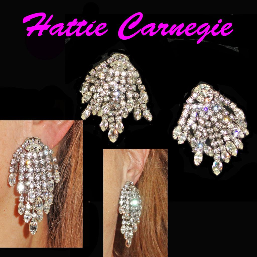 Hattie Carnegie Rhinestone Chandelier Dangle Earrings Clip On