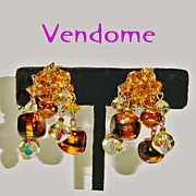 Coro Vendome Amber Crystal Beaded Rhinestone Art Glass Dangle Earrings