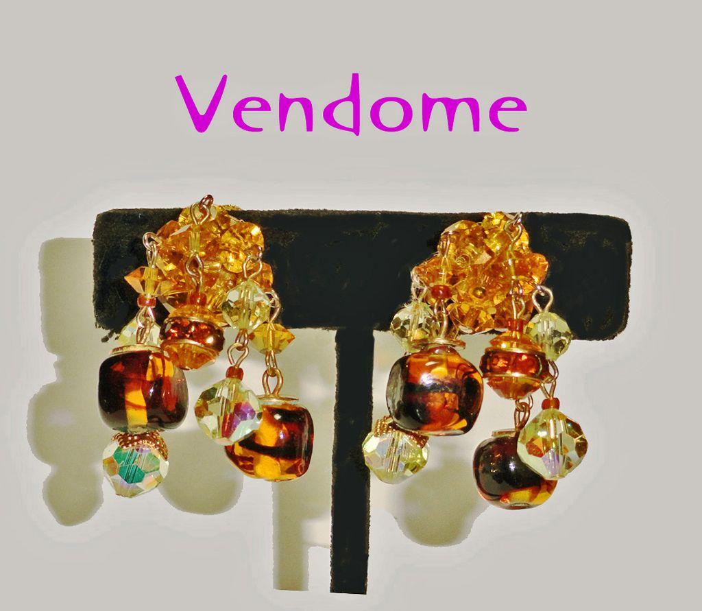 Coro Vendome Amber Crystal Beaded Rhinestone Art Glass Dangle Earrings