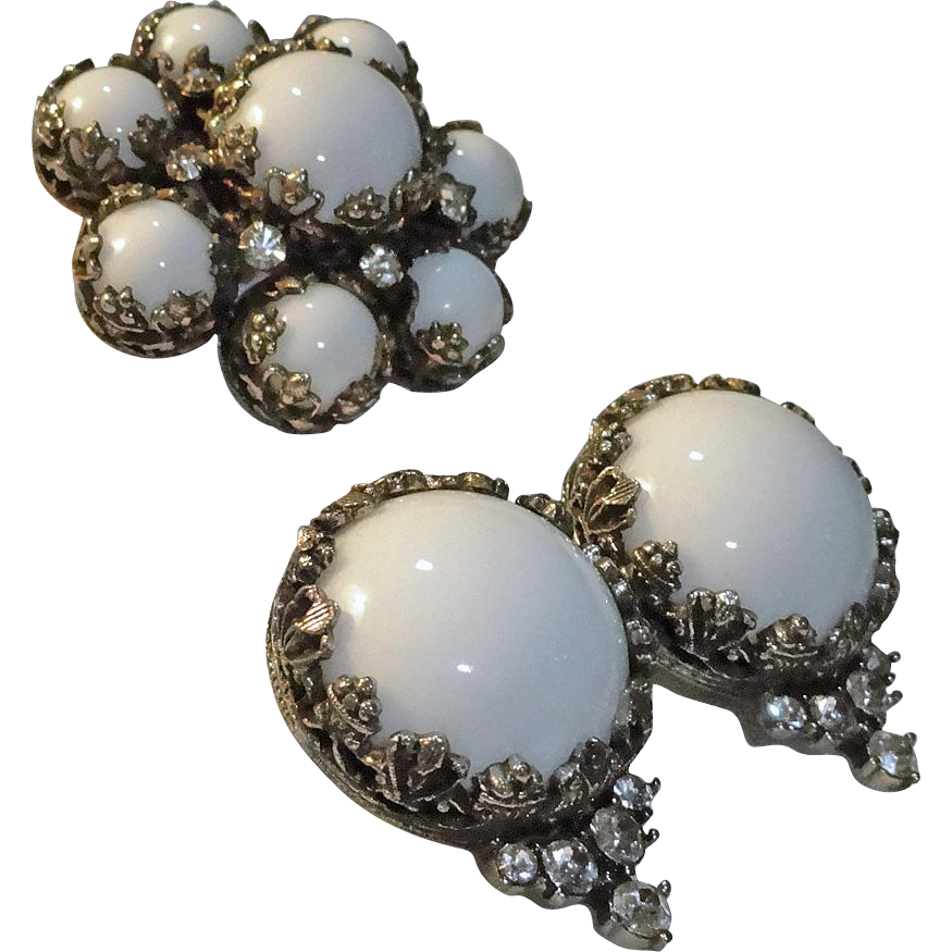 Kramer White Milk Glass Rhinestone Brooch Earrings Set