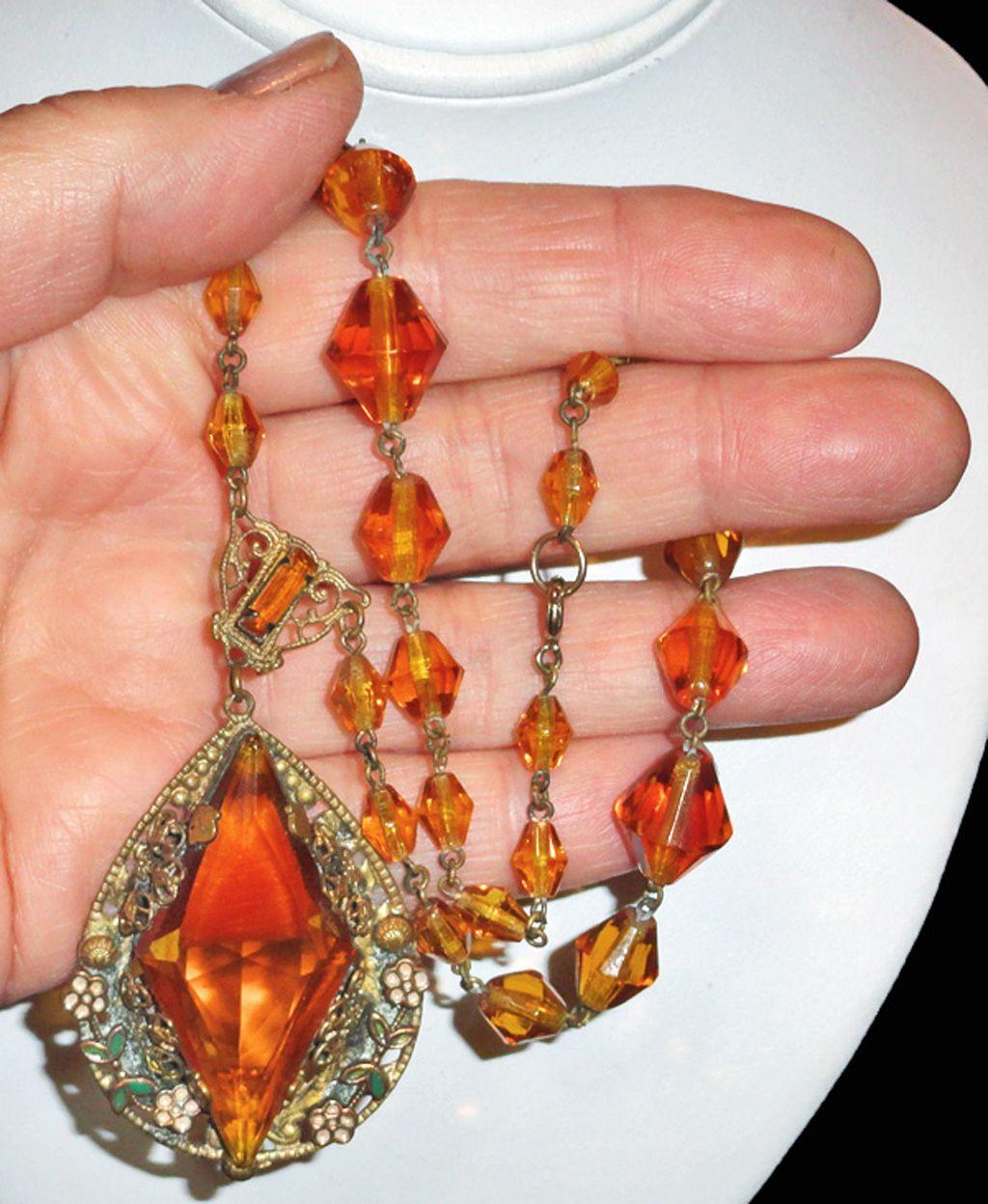 Art Deco Czechoslovakian Enamel and Topaz Glass Necklace