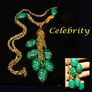 Celebrity NY Multi Chain Green Dangle Necklace