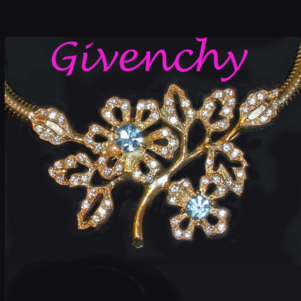 Givenchy Rhinestone Flower Necklace  Gold Plated
