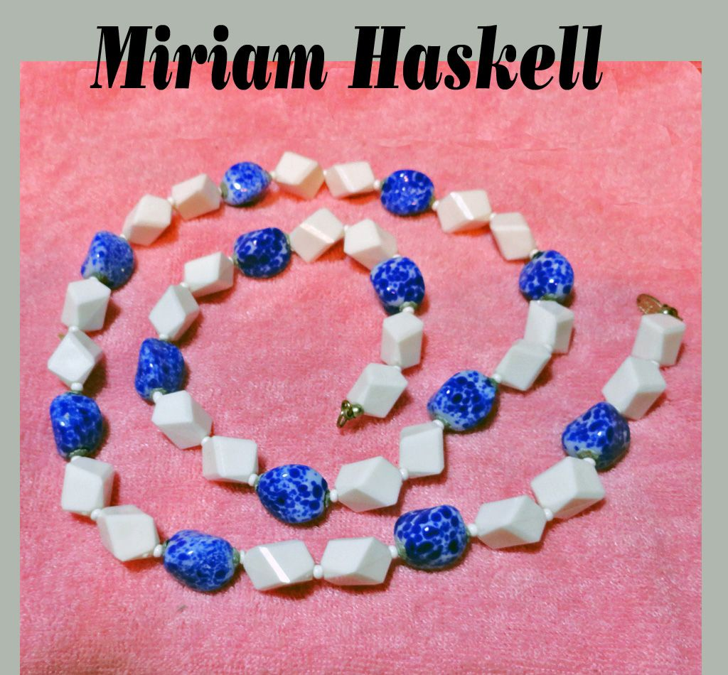 Miriam Haskell Blue Venetian Glass White Plastic Necklace