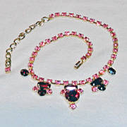 Pink and Red Rhinestone Chaton Baguette Necklace