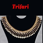 "Crown Trifari Faux Pearl Collar Bib Runway Necklace 1-3/4"" wide"