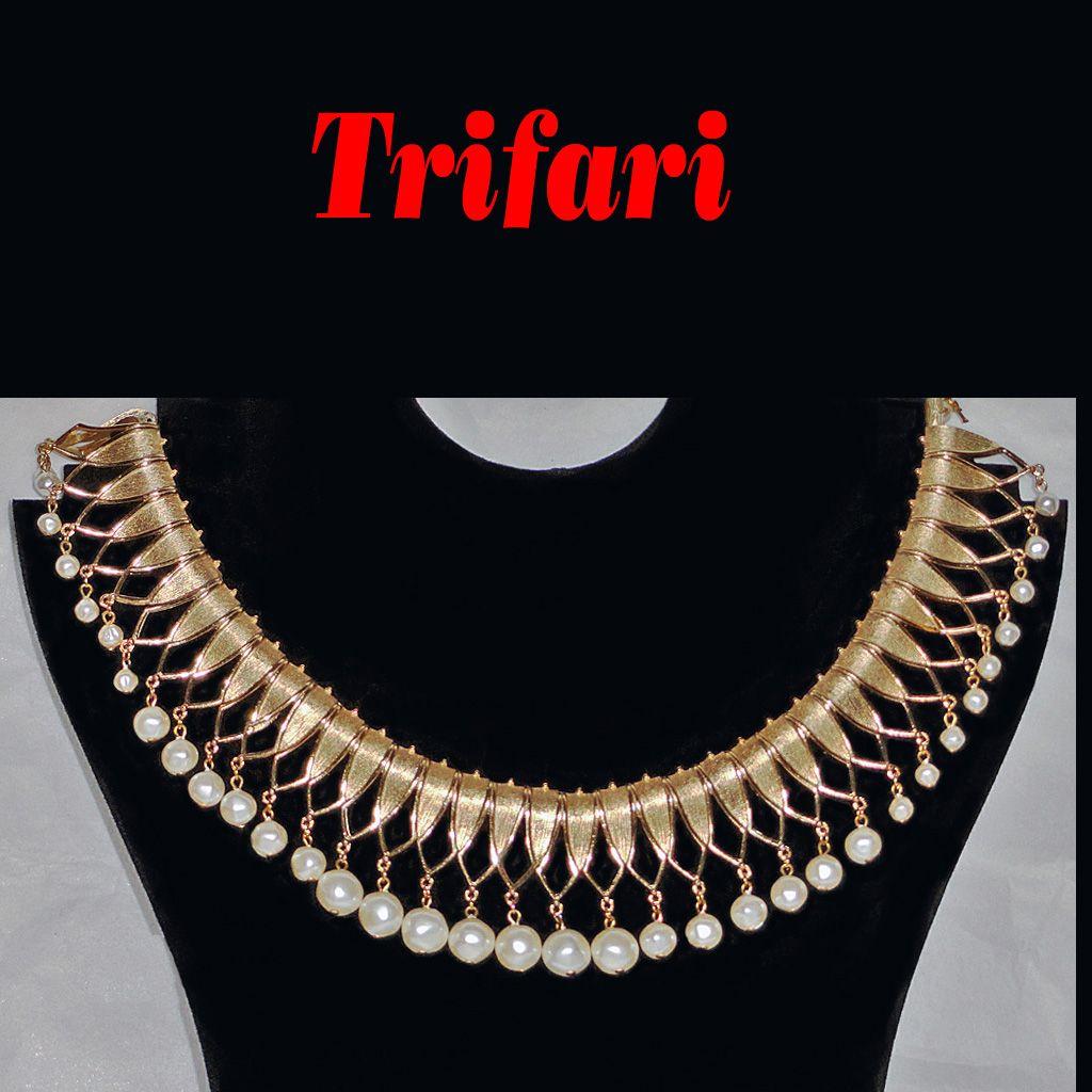 "Crown Trifari Faux Pearl Collar Bib Runway Necklace 1-3/4"" wide"