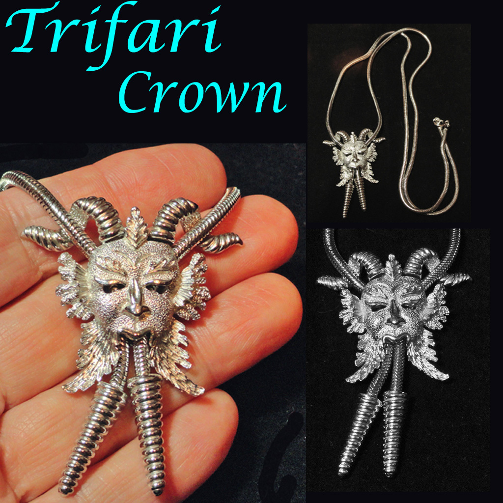 Trifari Crown Bacchus Dionysus Slide Lariat Necklace