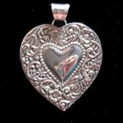 Victorian Art Nouveau Sterling Silver Heart Pendant  Very Large