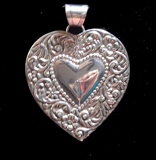 Victorian Art Nouveau Sterling Silver Heart Pendant  Very Large