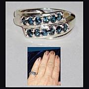 Blue Diamond Sterling Silver Fashion Ring  size 7
