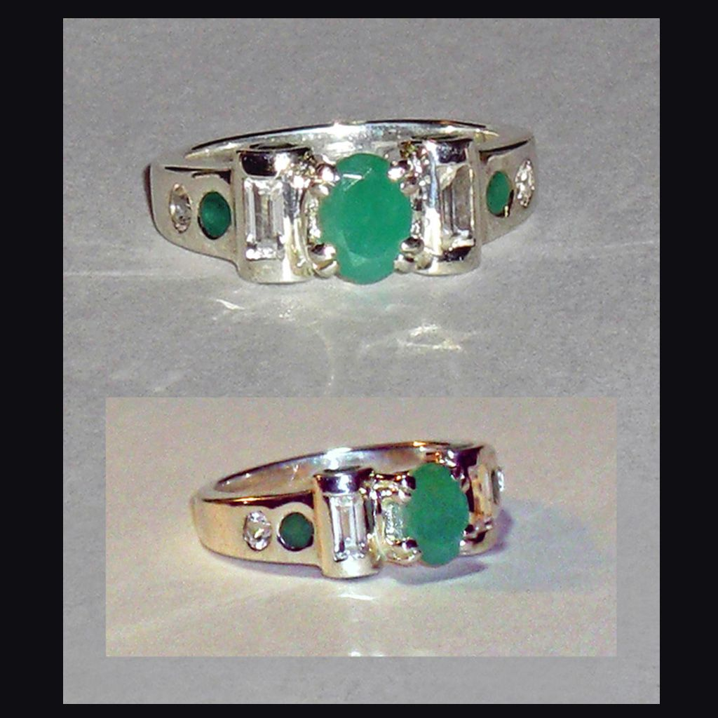 Sterling Silver Emerald White Topaz  Ring  Size 6-1/2