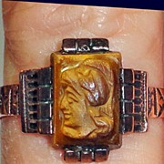 Victorian 10 K Rose Gold Tiger Eye Cameo Ring  C1890's