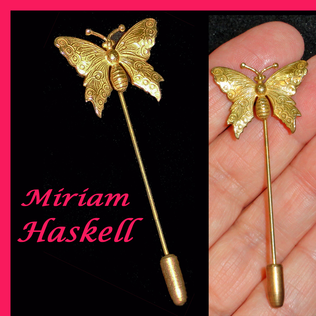 Miriam Haskell Butterfly Stick Pin