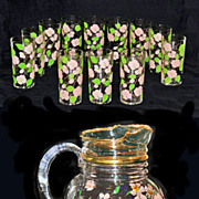 Federal Glass Hand Painted Glass Beverage Set Pitcher & 12 Glasses