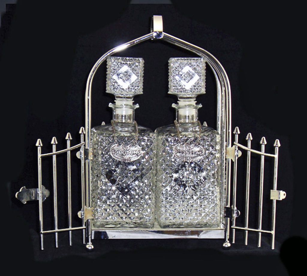 Chrome or Stainless Steel Tantalus Two Crystal Decanters and Tags SOLD