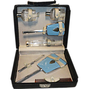 Art Deco Sky Blue Vanity Set in Original Case