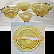 Federal Glass Golden Glo Yellow Ribbed Mixing Bowls