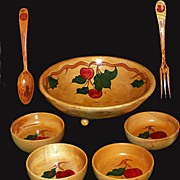 Vintage Hand Painted Wooden Salad Bowl Set  Apple Design 1950's