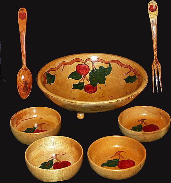 vintage hand painted wooden salad bowl set apple design 1950u0027s - Wooden Salad Bowls