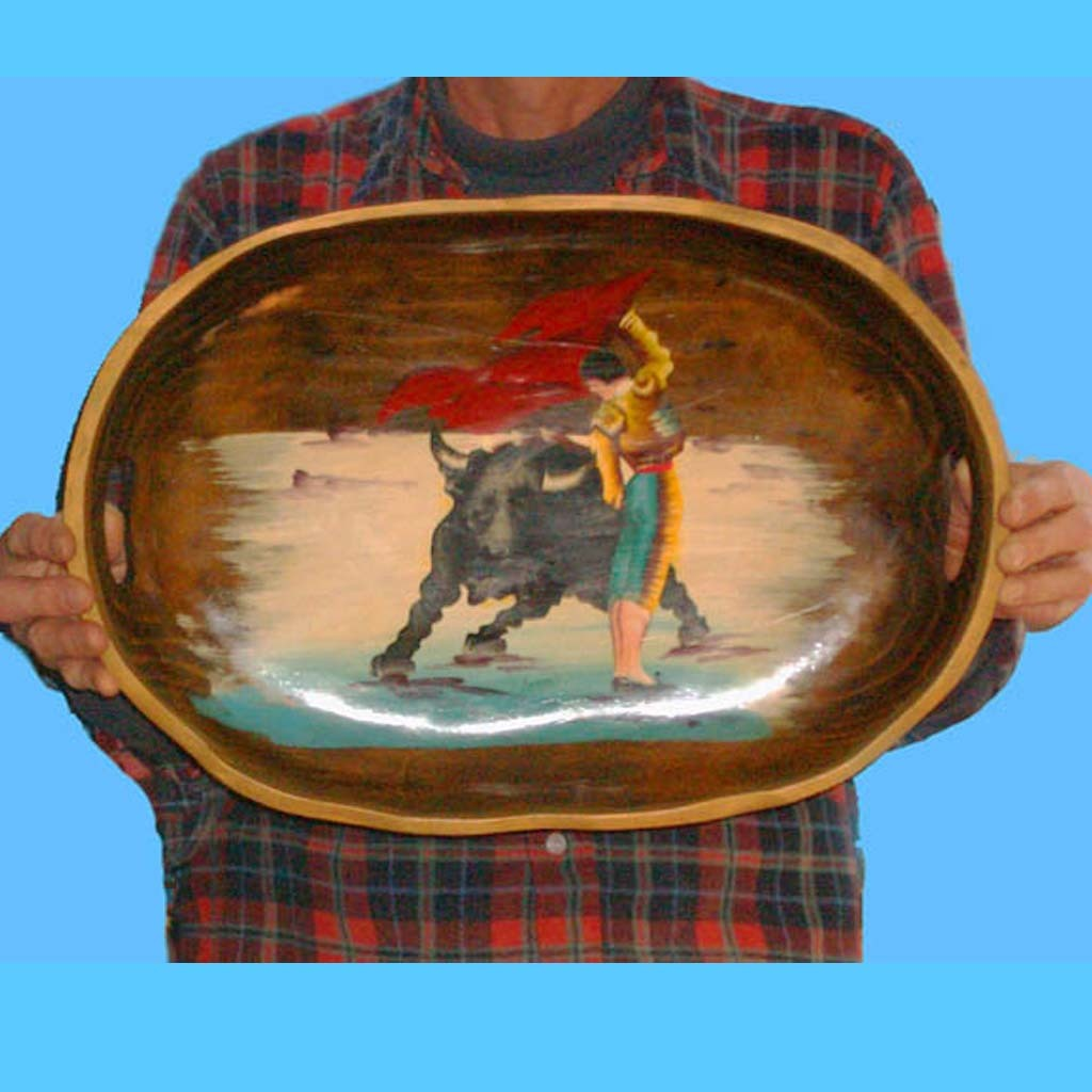 Hand Carved Painted Wood Bowl / Plaque  - Signed Farol