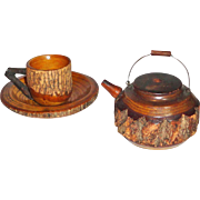 Treen Carved Wood Bark Teapot and Cup and Saucer Set