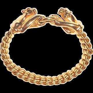 14K Gold Panther Cat Bracelet Arezzo Italy